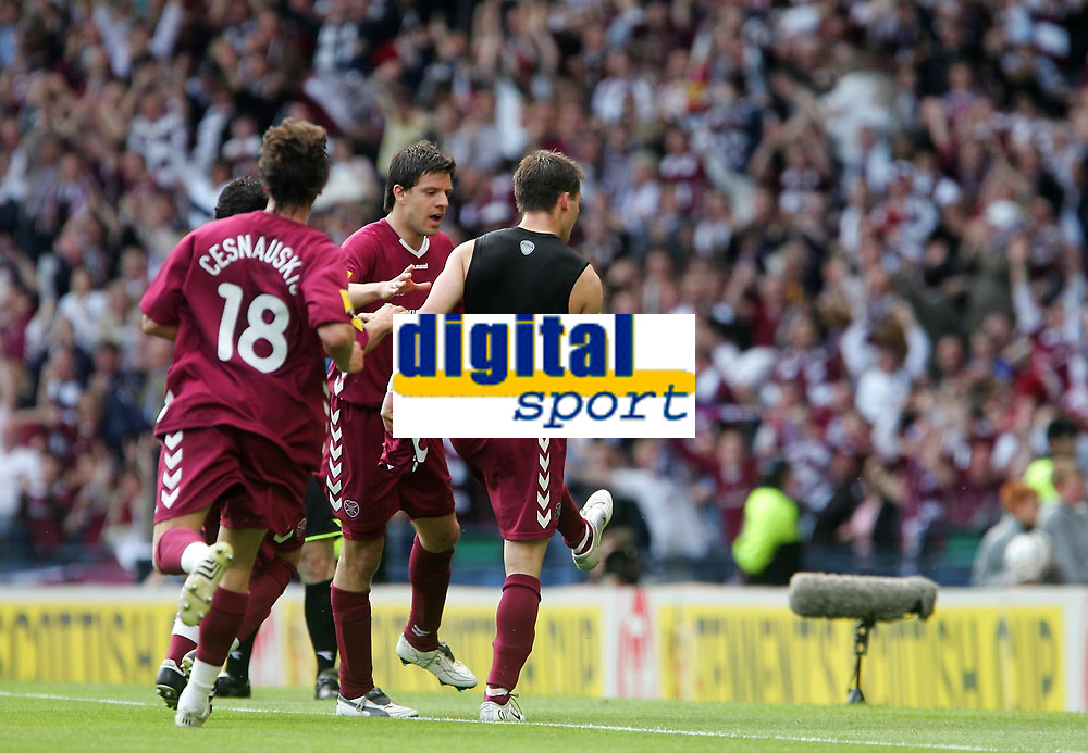 Photo: Andrew Unwin.<br /> Hearts v Gretna. Tennants Scottish Cup Final. 13/05/2006.<br /> Hearts celebrate their first goal.