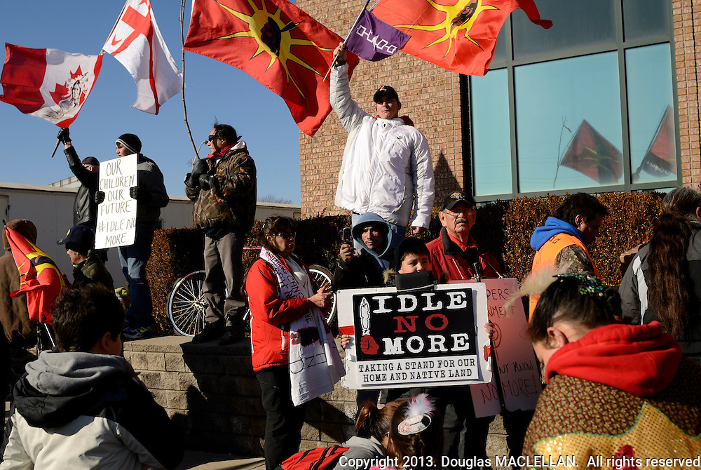 Windsor, Canada. January, 2013. Idle No More National Day of Action. March called for an 'economic slowdown' and it meets its goal. Peaceful march to Canada Border Station near Ambassador Bridge. Eight First Nations from southwestern Ontario partcipate. Crowd about 500 to 700.