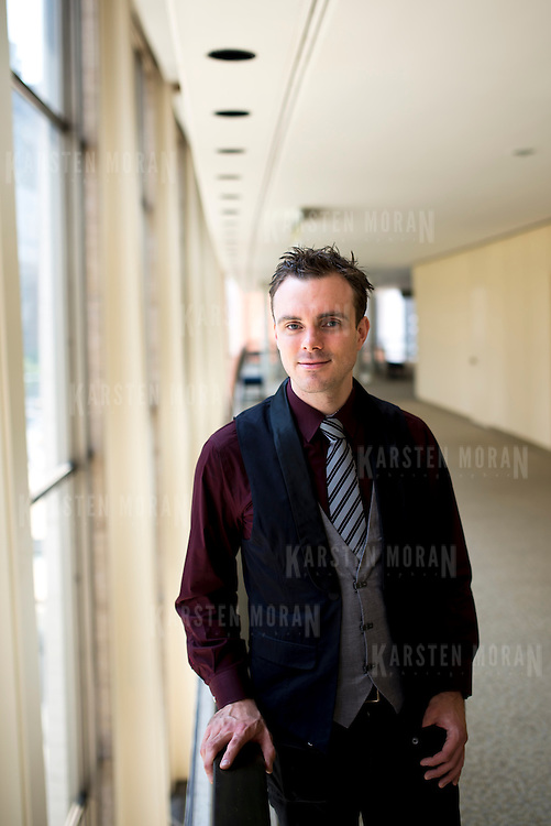 June 3, 2014 - New York, NY : Composer Andrew McManus poses for a portrait at Lincoln Center's Avery Fisher hall on Tuesday afternoon. Three works by little-known composers, such as McManus, will be selected for inclusion in the New York Philharmonic's Biennial. CREDIT: Karsten Moran for The New York Times