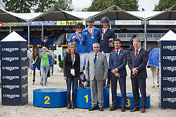 Podium 6 years old horses, Ahlmann Christian (GER), Wegener Carola (GER), Lemmen Patrick (NED)<br /> Final 6 years<br /> FEI World Breeding Jumping Championships for Young Horses - Lanaken 2014<br /> © Dirk Caremans