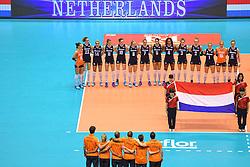 15-05-2016 JAP: OKT Nederland - Zuid Korea, Tokio<br /> Er is nog niets verloren, maar de volleybalsters van Oranje hebben tijdens het OKT een gevoelige 3-0 nederlaag geleden tegen Zuid-Korea / Nederland tijdens het volkslied