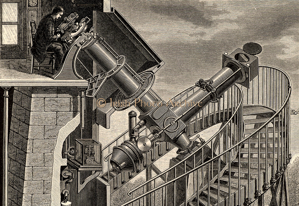 The 'equatorial coude' refracting telescope, Paris Observatory, France - aperture 7.5cm. The tube is 'bent' and light fed to the observer by two mirrors, one in front of the telescope and the other at the 'elbow'.  Engraving from 'A Handbook of Descriptive Astronomy' by George F Chambers (Oxford, 1890).
