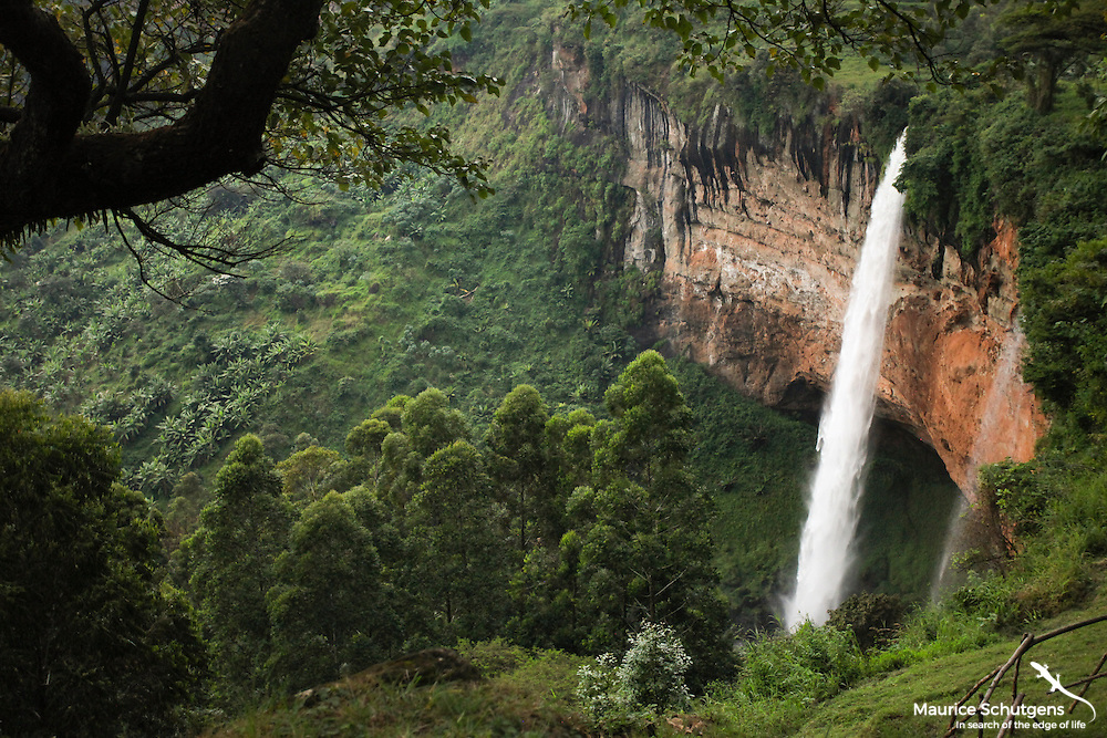 The Sipi Falls plummeting over the precipice in eastern Uganda.