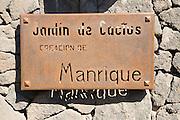 Sign for Jardin de Cactus designed by César Manrique, Guatiza, Lanzarote, Canary Islands, Spain