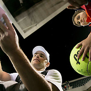 March 7, 2015, Indian Wells, California:<br /> Andy Roddick signs autographs during the McEnroe Challenge for Charity presented by Masimo in Stadium 2 at the Indian Wells Tennis Garden in Indian Wells, California Saturday, March 7, 2015.<br /> (Photo by Billie Weiss/BNP Paribas Open)