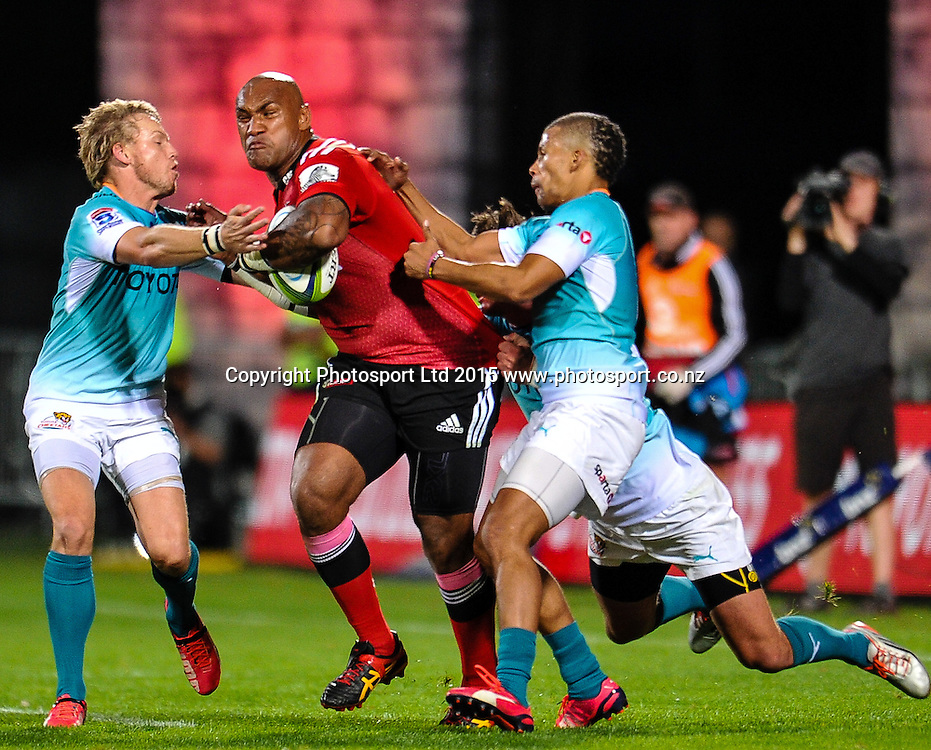 Nemani Nadolo of the Crusaders on the burst during the Super Rugby match, Crusaders v Cheetahs, 21 March 2015 at AMI Stadium, Christchurch. Copyright Photo: John Davidson / www.Photosport.co.nz