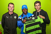 Match sponsors with MOM Forest Green Rovers Drissa Traoré(4) during the EFL Sky Bet League 2 match between Forest Green Rovers and Accrington Stanley at the New Lawn, Forest Green, United Kingdom on 30 September 2017. Photo by Shane Healey.