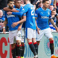Rangers v Celtic Scottish Premiership 11 March 2018; Daniel Candeias (Rangers, 21) celebrates his goal during the Rangers v Celtic Scottish Premiership match played at Ibrox Stadium, Glasgow; <br /> <br /> &copy; Chris McCluskie | SportPix.org.uk