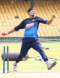 July 6, 2018 - Sri Lanka - Sri Lanka Right-arm Fast-medium bower Suranga Lakmal Ball at a practice session in R.Premadasa Stadium in Colombo on July 6, 2018. Sri Lanka and South Africa will play two Tests, five 50-over One-Day Internationals (ODIs), and one T20 in Sri Lanka between July 12 and August 14. The first Test between South African and Sri Lanka will be played on July 12 at the Galle International Cricket Stadium in Galle  (Credit Image: © Lahiru Harshana/Pacific Press via ZUMA Wire)