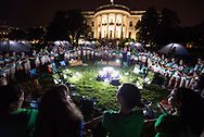 Fifty fourth-grade Girl Scouts participate in the Friendship Circle at the first-ever White House Campout held as part of the Let's Move! Outside initiative on Tuesday, June 30, 2015 in Washington, DC. NASA provided telescopes and led a stargazing activity with scientists and astronaut Cady Coleman in attendance. (photo by Aubrey Gemignani/NASA)
