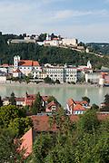 Blick auf Passau, Donau, Bayerischer Wald, Bayern, Deutschland | view on Passau, Danube, Bavarian Forest, Bavaria, Germany