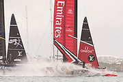 The Great Sound, Bermuda. 10th June 2017. Artemis Racing (SWE) luff Emirates Team New Zealand on leg one of the second race of the Louis Vuitton America's Cup Challenger playoff finals. Artemis win the race to take the score to 1 - 1.