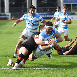 Juan Martin Pedemonte of Argentina scores a try during the World Championship U 20 match between England and Argentina on May 30, 2018 in Narbonne, France. (Photo by Alexandre Dimou/Icon Sport)