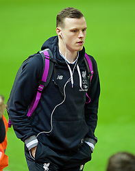 LIVERPOOL, ENGLAND - Wednesday, January 20, 2016: Liverpool's Brad Smith arrives before the FA Cup 3rd Round Replay match against Exeter City at Anfield. (Pic by David Rawcliffe/Propaganda)