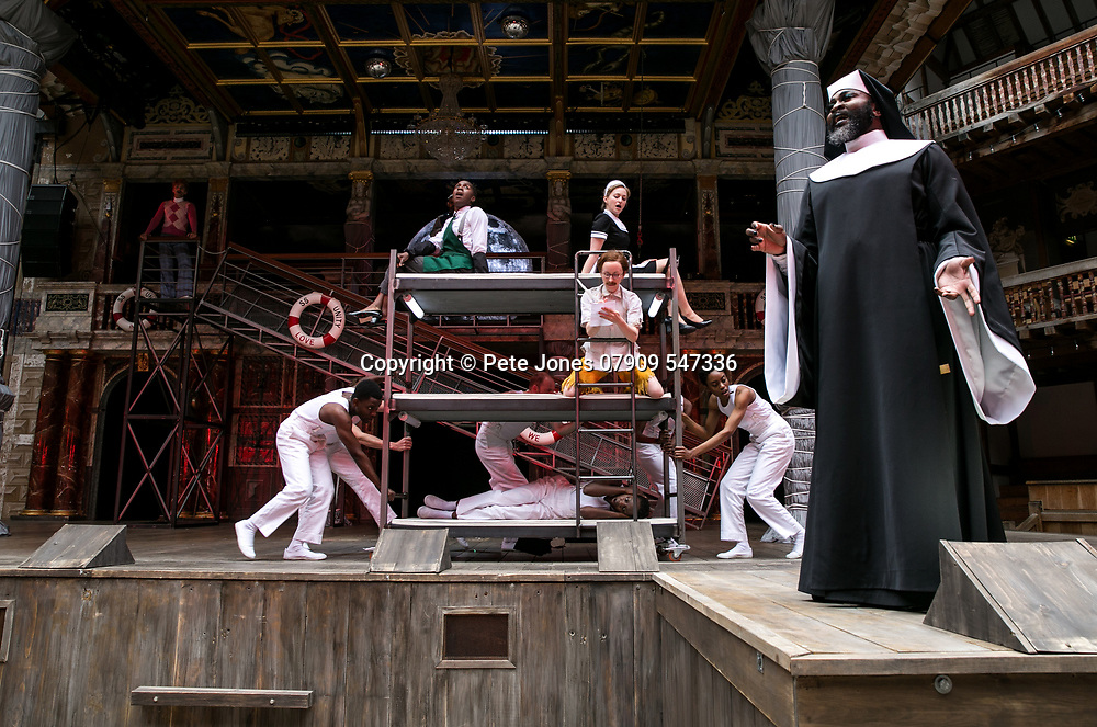 Twelfth Night by William Shakespeare;<br /> Directed by Emma Rice;<br /> Le Gateau Chocolat as Feste;<br /> Katy Owen as Malvolio;<br /> Carly Bawden as Maria the maid;<br /> Tony Jayawardena as Sir Toby Belch;<br /> Marc Antolin as Sir Andrew Aguecheek;<br /> Kandaka Moore ensemble;<br /> Shakespeare's Globe;<br /> London, UK;<br /> 23 May 2017;<br /> 
