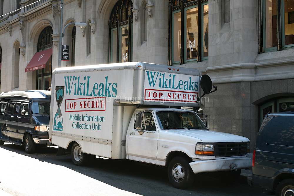Wikileaks mobile information collection unit van at the Occupy Wall Street encampment at Zuccotti Park in the financial district New York