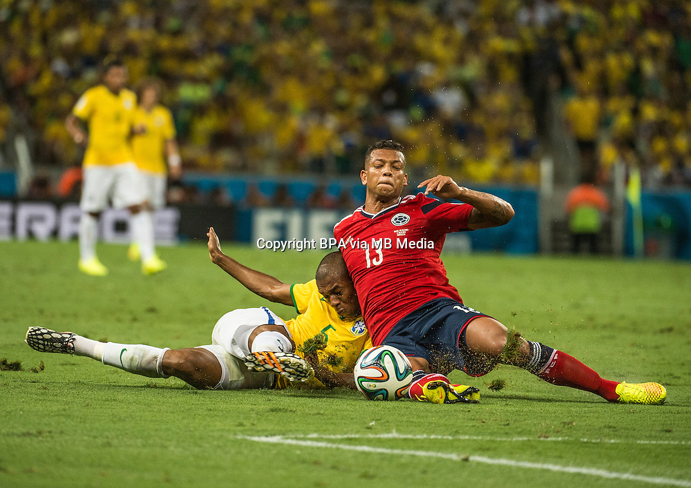 Fredy Guarin. Brazil v Colombia, quarter-final. FIFA World Cup Brazil 2014. Castelao stadium, Fortaleza. 4 July 2014.