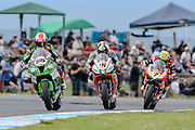 Race 1, Jonathan Rea, Leon Haslam and Chaz Davies<br /> Philip Island, Australia, 03.03.2015 FIM World Superbike Championship - Honorarpflichtiges Bild, Motorrad WSBK -<br /> fee liable image, copyright © ATP / Damir IVKA