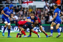 Giulio Bisegni of Italy is tackled - Mandatory by-line: Robbie Stephenson/JMP - 06/09/2019 - RUGBY - St James's Park - Newcastle, England - England v Italy - Quilter Internationals