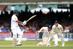 South Africa's Vernon Philander is bowled out by England's Moeen Ali (not pictured) during day three of the First Investec Test match at Lord's, London.