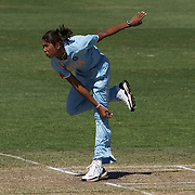 Indian captain Jhulan Goswami bowling during the match between New Zealand and India in the Super 6 stage of the ICC Women's World Cup Cricket tournament at North Sydney  Oval, Sydney, Australia on March 17, 2009. Photo Tim Clayton