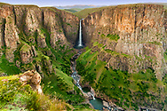 The Maletsunyane Falls in the central Lesotho highlands. Maletsunyane Falls is the highest waterfall in Southern Africa with a single drop of 192 metres.