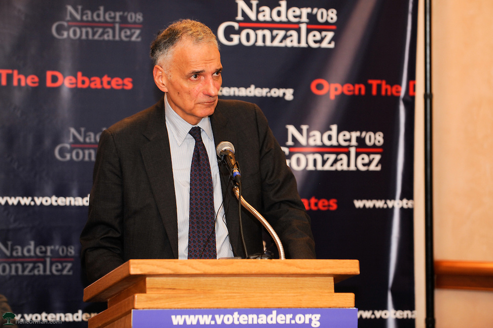 August 27, 2008 - Presidential candidate Ralph Nader in Denver, Colorado speaking about opening the debates at a press conference prior to a Super Rally during the DNC.