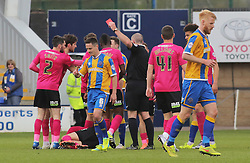 Ian Black of Shrewsbury Town is shown a red card late on in the game - Mandatory by-line: Joe Dent/JMP - 30/04/2016 - FOOTBALL - New Meadow - Shrewsbury, England - Shrewsbury Town v Peterborough United - Sky Bet League One