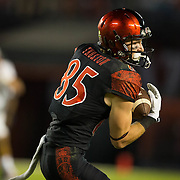 08 October 2016: The San Diego State Aztecs football team open's up the mountain west conference season at home against the University of Nevada Las Vegas Rebels. San Diego State wide receiver Quest Truxton (85) catches a pass for a first down in the first quarter.The Aztecs beat the Rebels 26-7 to improve to 4-1 and 1-0 in conference play. www.sdsuaztecphotos.com