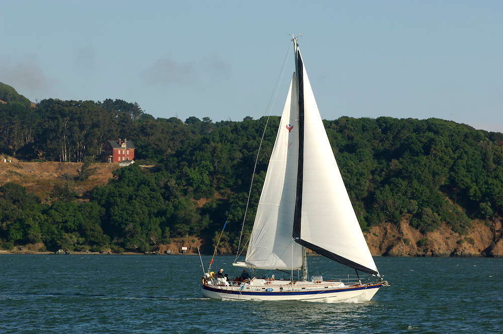 Sailboat, and view to Angel Island, Tiburon, California, United States of America