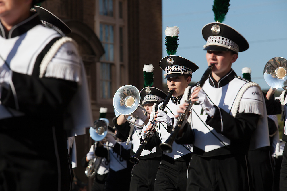 The Marching 110 marches in the 2015 Homecoming parade down on Union Street. Photo by Kaitlin Owens