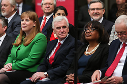 © Licensed to London News Pictures. 16/05/2017. Bradford, UK. Shadow cabinet members John McDonnell and Diane Abbott attend the Labour Party's 2017 general election manifesto launch at an event at Bradford University in West Yorkshire. Photo credit : Ian Hinchliffe/LNP