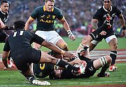 JOHANNESBURG, South Africa, 04 October 2014 : Richie McCaw (C) and Julian Savea (11) of the All Blacks are too late to stop Handré Pollard of the Springboks for his second try during the Castle Lager Rugby Championship test match between SOUTH AFRICA and NEW ZEALAND at ELLIS PARK in Johannesburg, South Africa on 04 October 2014. <br /> The Springboks won 27-25 but the All Blacks successfully defended the 2014 Championship trophy.<br /> <br /> © Anton de Villiers / SASPA