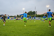 Forest Green Rovers players warming up during the Gloucestershire Senior Cup match between Forest Green Rovers and Cheltenham Town at the New Lawn, Forest Green, United Kingdom on 20 September 2016. Photo by Shane Healey.