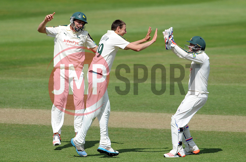 Nottinghamshire's Matt Carter celebrates the wicket of Somerset's Michael Bates- Photo mandatory by-line: Harry Trump/JMP - Mobile: 07966 386802 - 15/06/15 - SPORT - CRICKET - LVCC County Championship - Division One - Day Two - Somerset v Nottinghamshire - The County Ground, Taunton, England.