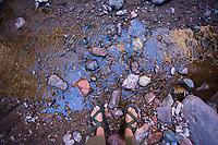 Hiking along Aravaipa Canyon Preserve, AZ.