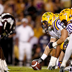 November 10, 2012; Baton Rouge, LA, USA;  LSU Tigers offense lines up against the Mississippi State Bulldogs during the first half of a game at Tiger Stadium.  Mandatory Credit: Derick E. Hingle-US PRESSWIRE