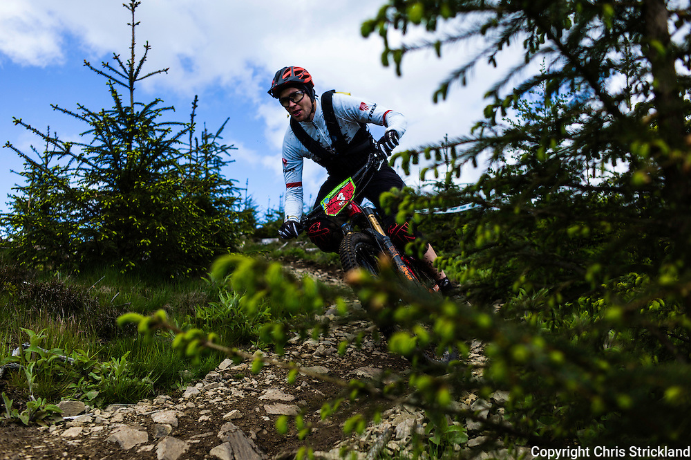 Glentress, Peebles, Scotland, UK. 31st May 2015. Justin Leov of Trek Factory Racing won the Enduro World Series Round 3 which took place on the iconic 7Stanes trails during Tweedlove Festival.