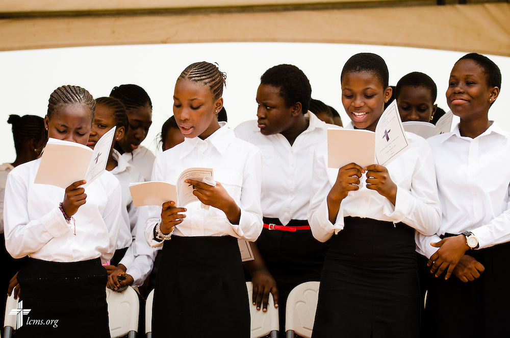 Choir members sing during the service before the dedication of the Lutheran Theological Seminary of the Evangelical Lutheran Church of Ghana on Sunday, Feb. 2, 2014, in Greater Accra, Ghana. LCMS Communications/Erik M. Lunsford