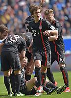 Fotball<br /> Tyskland<br /> 18.04.2015<br /> Foto: Witters/Digitalsport<br /> NORWAY ONLY<br /> <br /> 0:1 Jubel Bayern v.l. Juan Bernat, Torschuetze Sebastian Rode (am Boden), Gianluca Gaudino, Mitchell Weiser (Bayern) <br /> <br /> Fussball Bundesliga, TSG 1899 Hoffenheim - FC Bayern München
