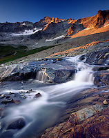 Glacial stream in Boston Basin at sunset, North Cascades National Park Washington