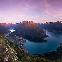 Nordfjord panorama. The view from Mt. Hoven