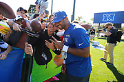 Jan 24, 2018; Kissimmee, FL, USA; Seattle Seahawks quarterback Russell Wilson (3) signs autographs and takes a selfie with fans after practice for the 2018 Pro Bowl at ESPN Wide World of Sports Complex. (Steve Jacobson/Image of Sport)