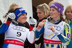 17.02.2011, Kandahar, Garmisch Partenkirchen, GER, FIS Alpin Ski WM 2011, GAP, Riesenslalom, im Bild silber Medaille Federica Brignone (ITA) und Gold Medaille und Weltmeister TinaTina Maze (SLO) tanzen // silver medal Federica Brignone (ITA), Gold Medal and World Champion Tina Maze (SLO) dance during Giant Slalom Fis Alpine Ski World Championships in Garmisch Partenkirchen, Germany on 17/2/2011. EXPA Pictures © 2011, PhotoCredit: EXPA/ J. Groder