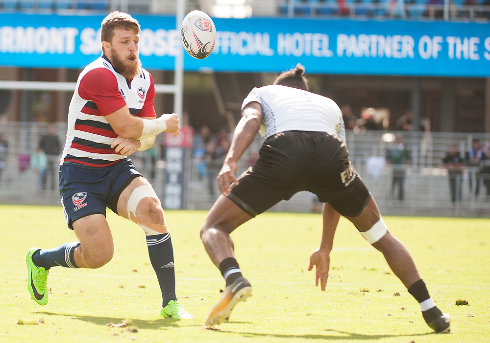 Stephen Tomasin offloads the ball as Fuji play the United States in the Cup Quarter Finals of the Silicon Valley Sevens in San Jose, California. November 4, 2017. <br /> <br /> By Jack Megaw.<br /> <br /> <br /> <br /> www.jackmegaw.com<br /> <br /> jack@jackmegaw.com<br /> @jackmegawphoto<br /> [US] +1 610.764.3094<br /> [UK] +44 07481 764811