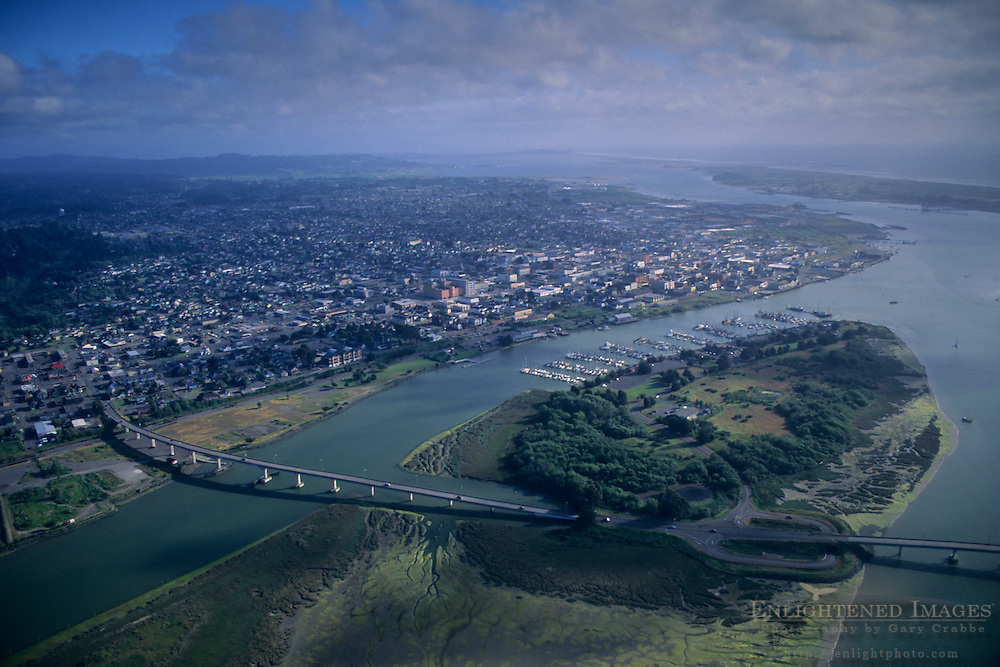 Aerial over Eureka, Humboldt County, CALIFORNIA
