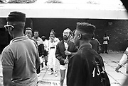 Male youths with High Top Fade hair cuts at the Moss Side Carnival, Alexandra Park, Manchester 1989