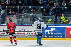 03.01.2018, Ice Rink, Znojmo, CZE, EBEL, HC Orli Znojmo vs EHC Liwest Black Wings Linz, 36. Runde, im Bild v.l. Adam Raska (HC Orli Znojmo) Dan Dasilva (EHC Liwest Black Wings Linz) // during the Erste Bank Icehockey League 36th round match between HC Orli Znojmo and EHC Liwest Black Wings Linz at the Ice Rink in Znojmo, Czech Republic on 2018/01/03. EXPA Pictures © 2018, PhotoCredit: EXPA/ Rostislav Pfeffer