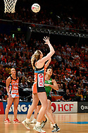 SYDNEY, AUSTRALIA - AUGUST 24: Kim Green of the Giants passes the ball to Caitlin Bassett of the Giants during the round 14 Super Netball match between the Giants and the West Coast Fever at Qudos Bank Arena on August 24, 2019 in Sydney, Australia.(Photo by Speed Media/Icon Sportswire)