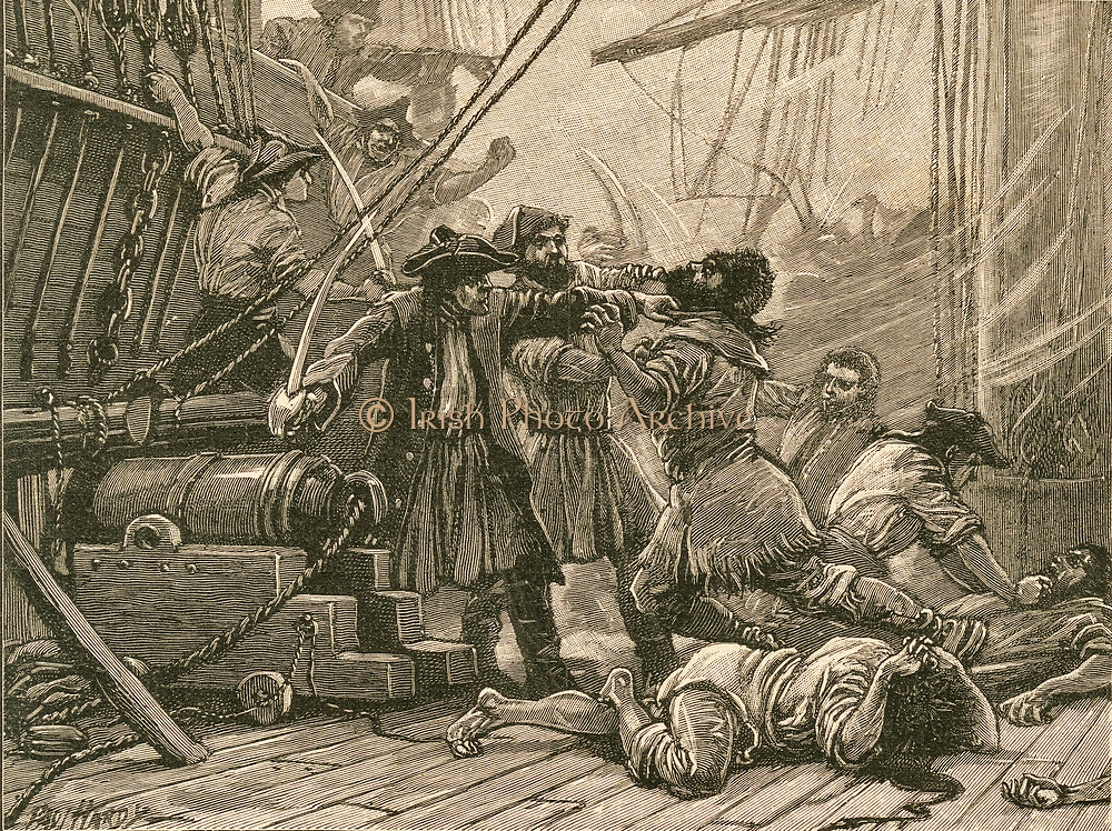 Pirates boarding a ship and overpower the crew: 18th century.